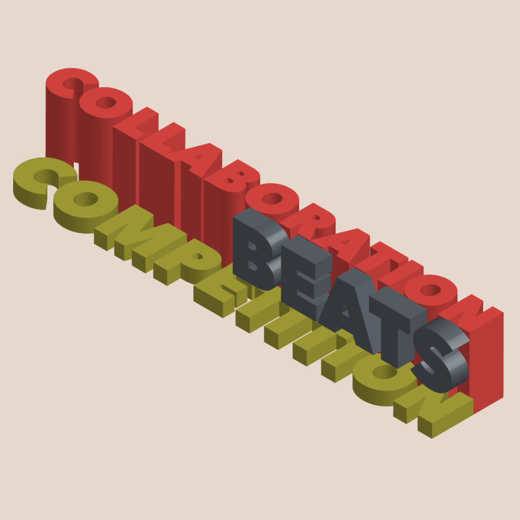 Collaboration beats competition written in 3D bold type from an isometric viewpoint