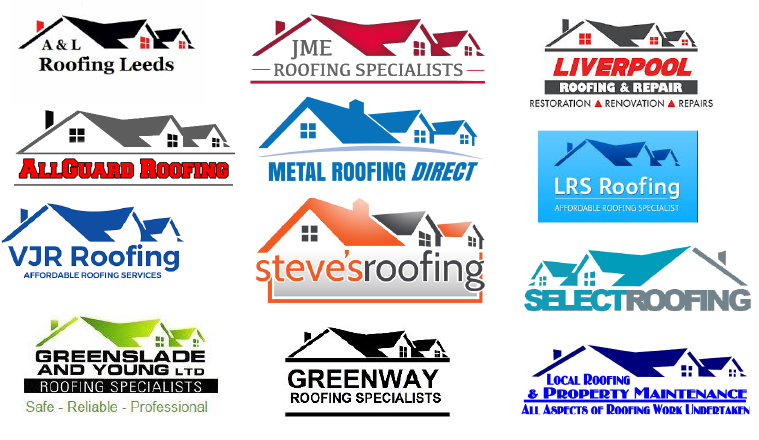 12 roofing company logos that look the same