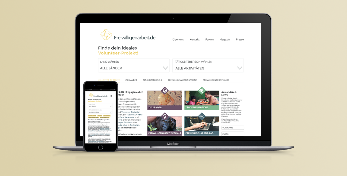 freiwilligenarbeit website and mobile mockup