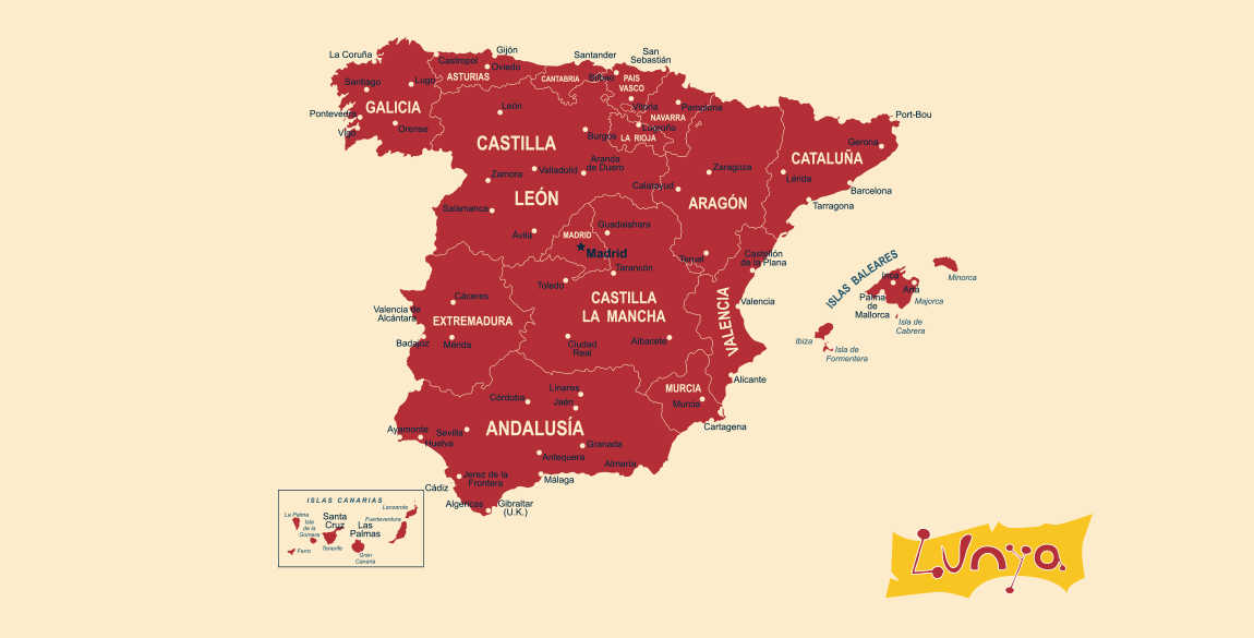 Lunya Map of Spain and Catalonia