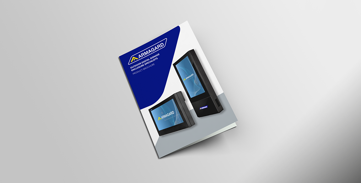 Brochure featuring two outdoor display solutions on the front