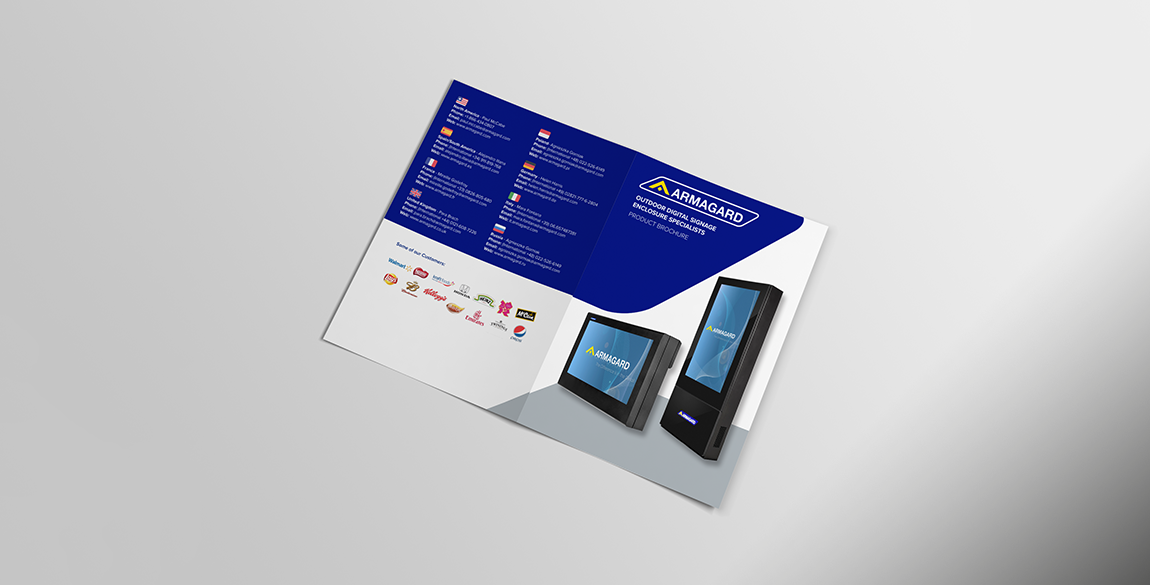 Front and back of brochure shown laid flat on table. Image of two outdoor display solutions. Contact details.