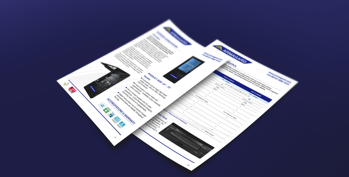 Mockup of of front and back of a datasheet