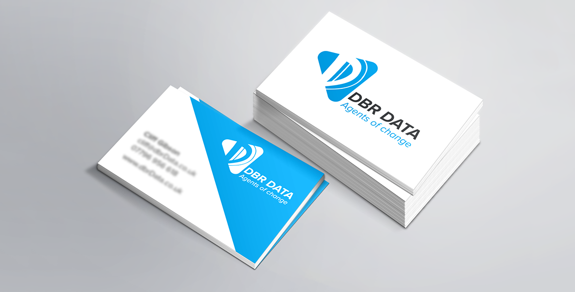 Mockup of DBR Data Business Card back and front