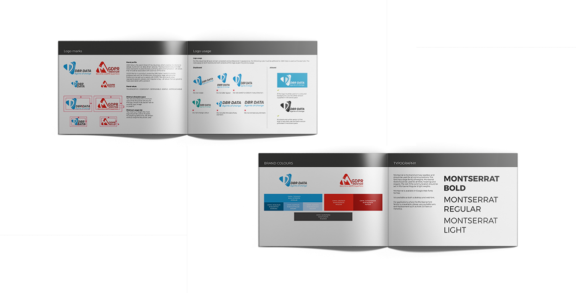 Mockup of logo usage, colour and font pages from the DBR Data and GDPR Mentor brand guidelines