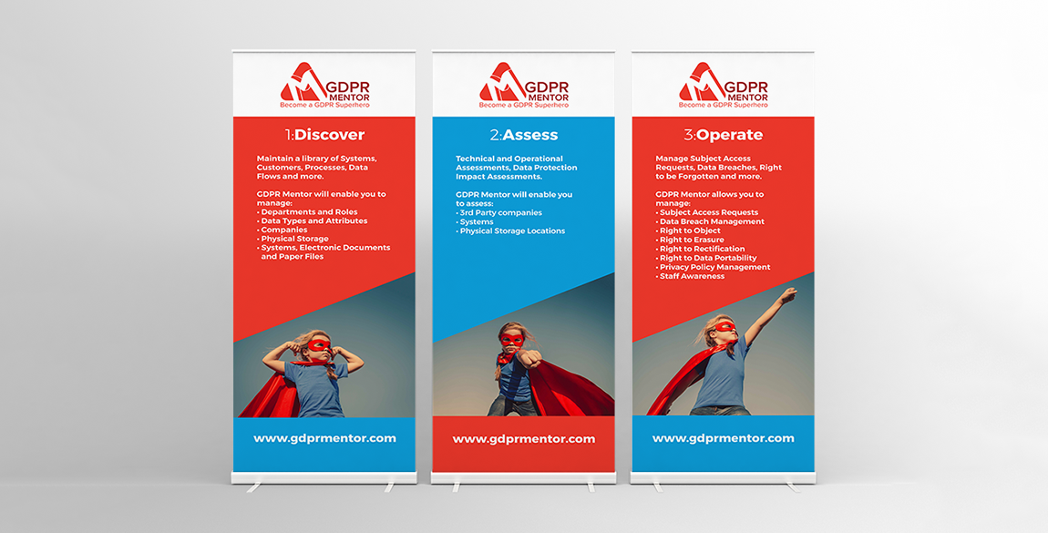 Mockup of 3 banner stands for GDPR Mentor featuring text and image of child dressed as superhero