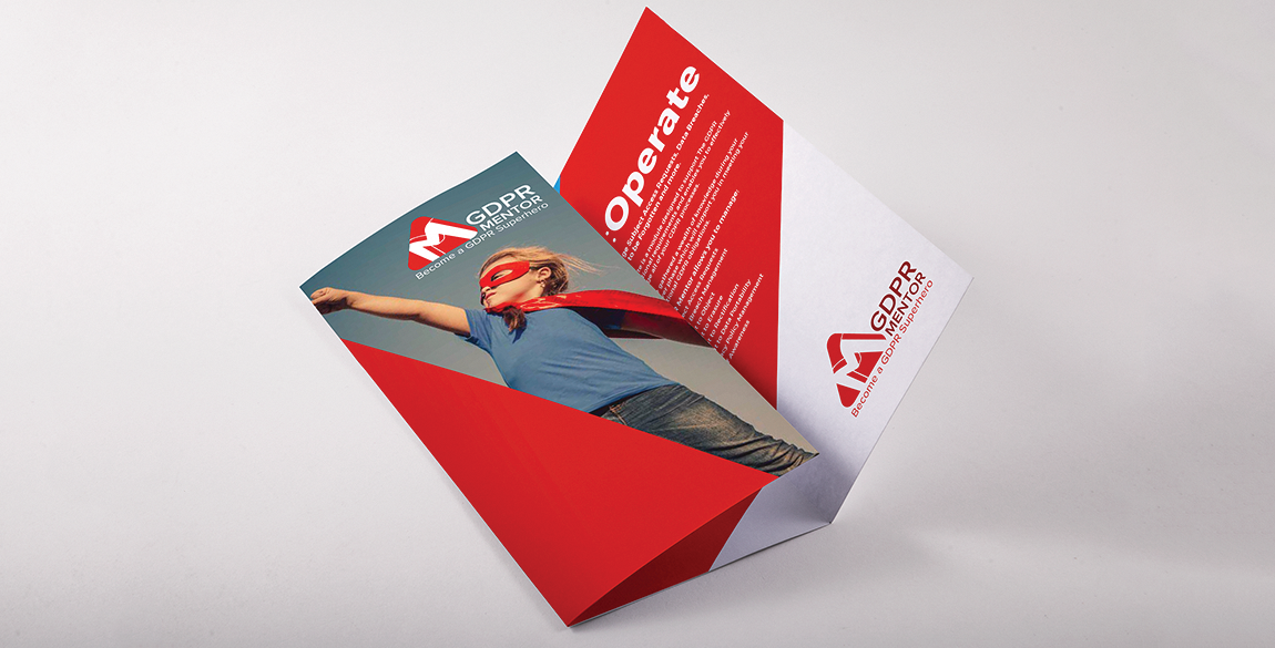 Mockup of leaflet showing front page with girl dressed as superhero