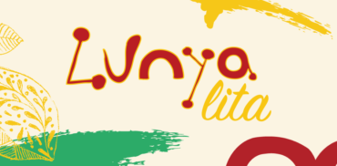 Lunyalita logo on cream background with yellow, green and red abstract shapes.