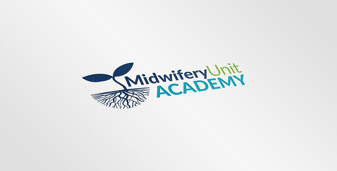 Mock up of the Midwifery Unit Academy logo shown printed on white paper