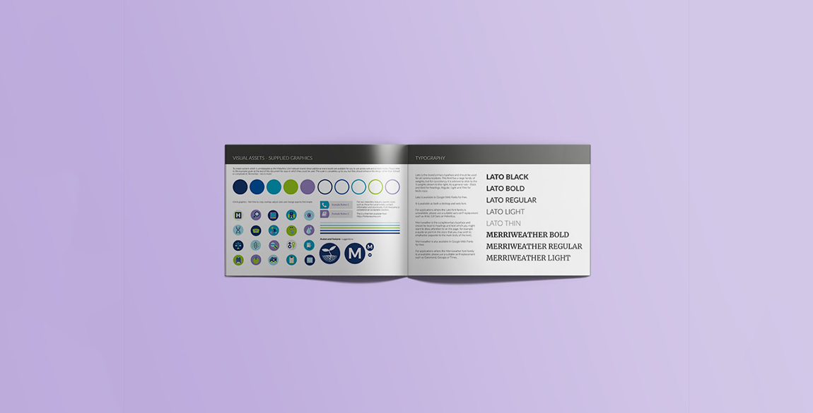 Double page spread showing some example brand graphics and what fonts to use