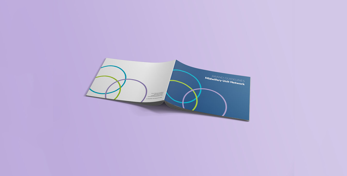 Mock up of the front and back cover of the Midwifery Unit Network brand guidelines.