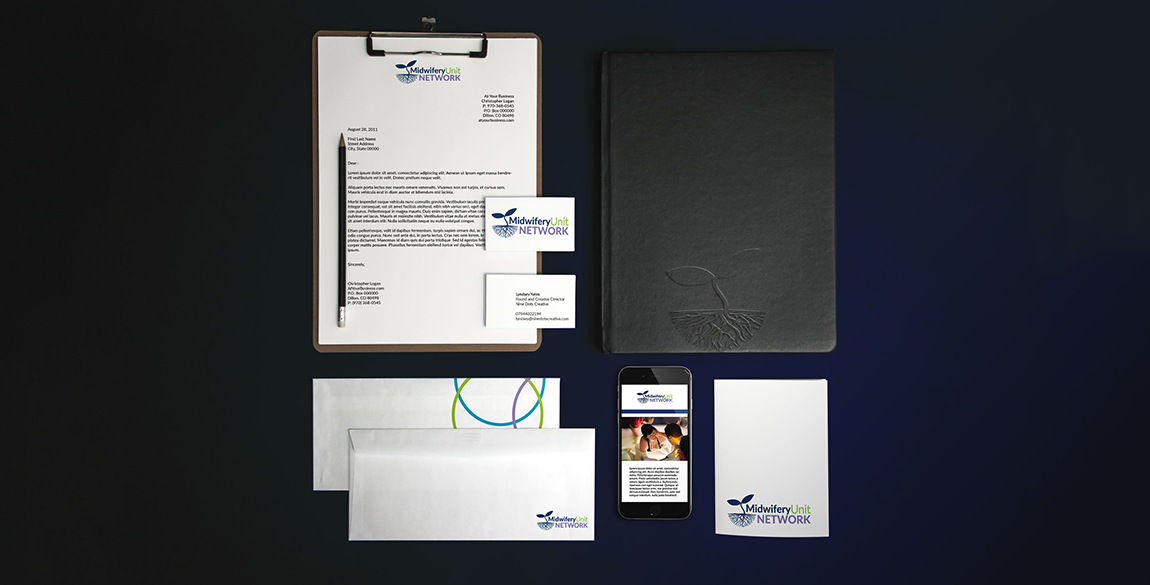 Mockup of the Midwifery Unit Network brand on various stationary items such as letterhead, business card and compliments slip