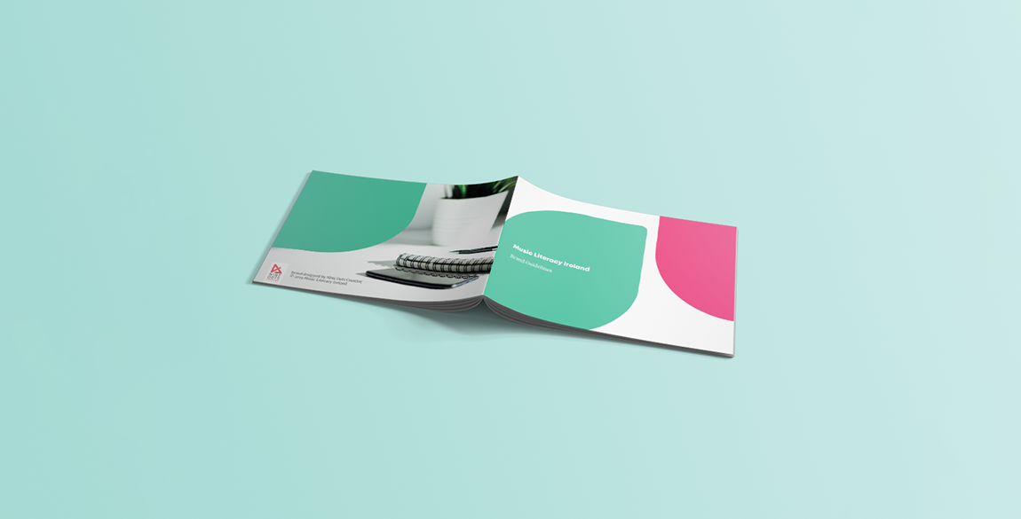Mockup of the Music Literacy Ireland brand guidelines - front and back cover shown.