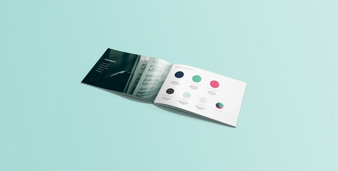 Mockup of the Music Literacy Ireland brand guidelines - contents page and brand colours pages shown