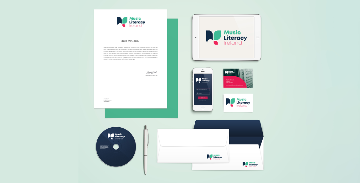 Music Literacy Ireland Brand identity shown on mockup of letterhead, business card, envelope, phone screen and CD.