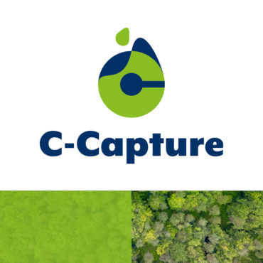 C-Capture logo on white background. Bottom third of image features photo of green trees from above, partially obscured by a semi transparent green box.