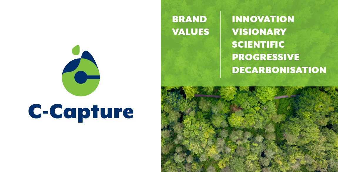 Image to show C-Capture logo alongside the brand values which are: innovation, visionary, scientific, progressive and decarbonisation