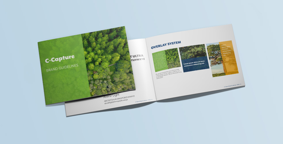 A4 landscape brochure mockup showing front page and two inside pages of the C-Capture brand guidelines