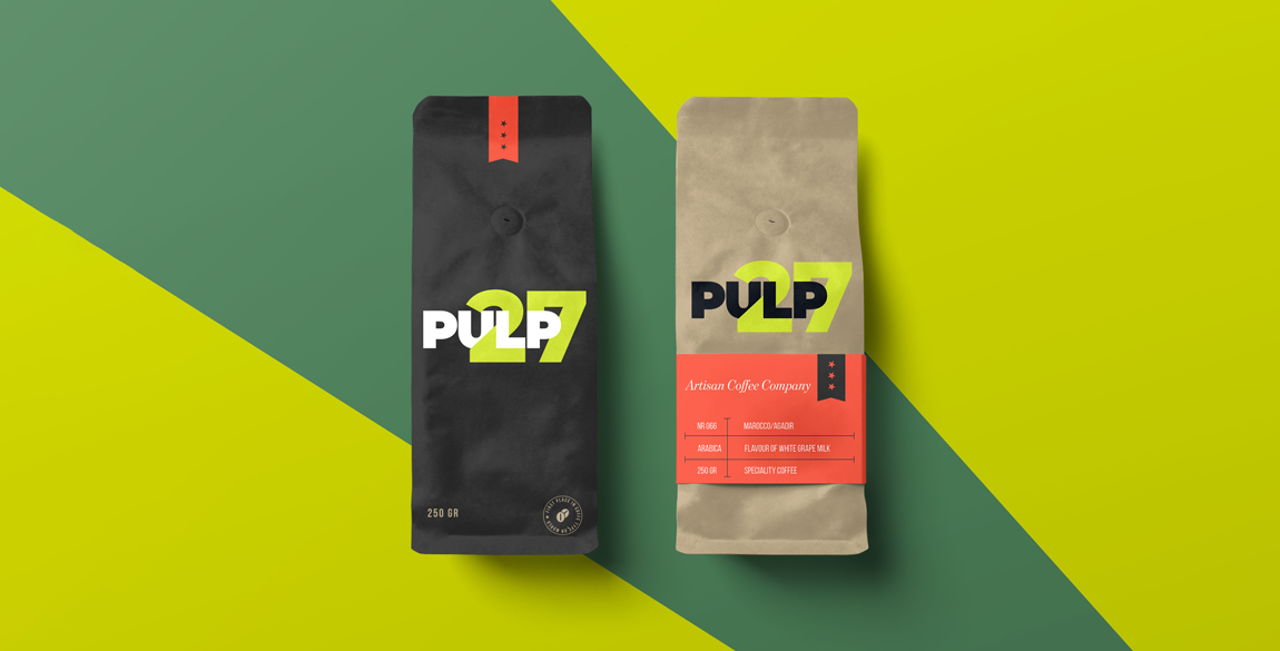 Two coffee bags (one black, one brown) with Pulp 27 branding on them shown on a green background