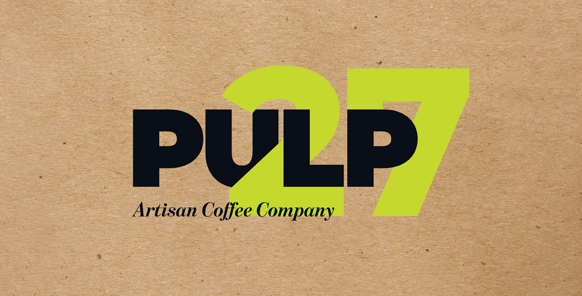 Pulp 27 logo shown on a brown paper bag background