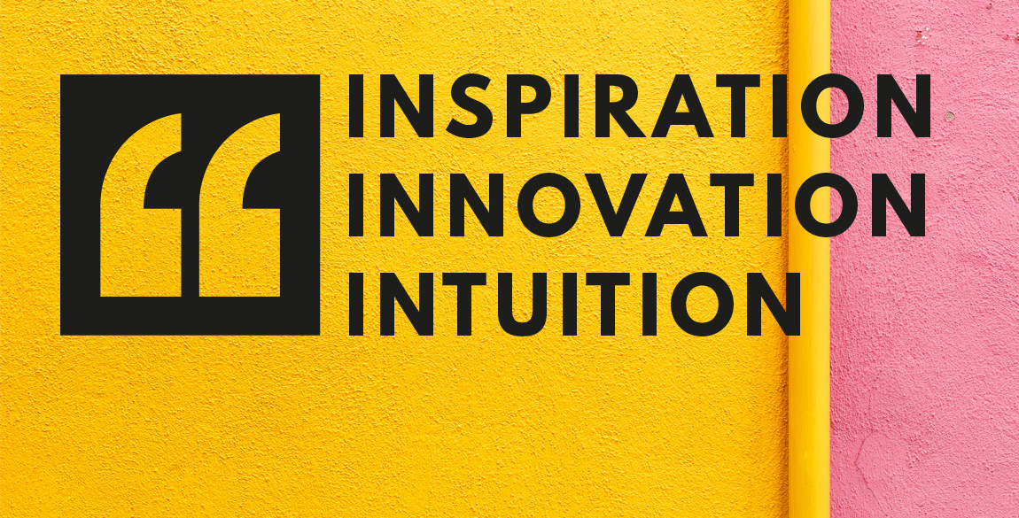 """Cariad Rose Speech marks logo with the text """"Inspiration, innovation, intuition"""" to the right hand side. Set on an abstract yellow and pink background."""