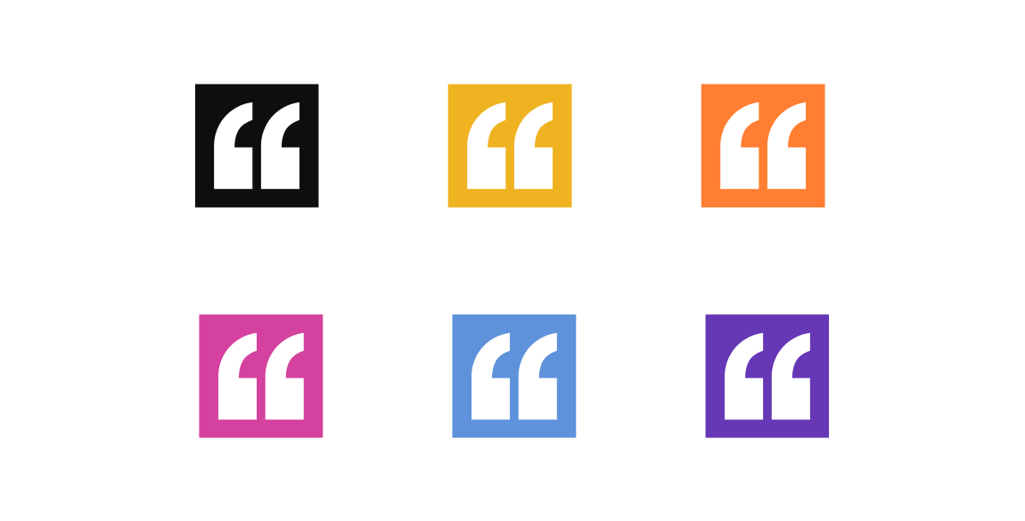 Cariad Rose speechmarks logo shown in the 6 different brand colour options