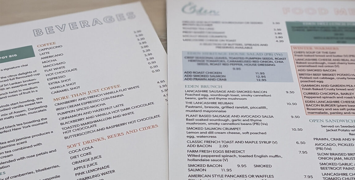A closely cropped photograph of the Eden Tearoom menus - food and beverages.
