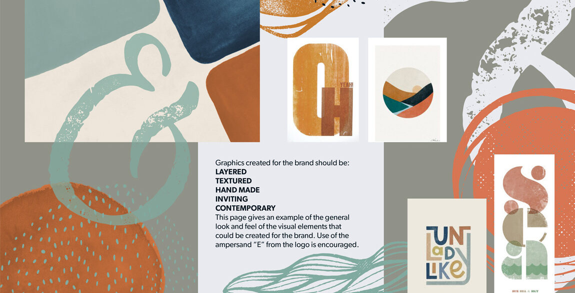 "Visual showing moodboard created as part of the Eden branding process. Features texture, layering and colour examples filling the page in an informal arrangement, with the ampersand ""E"" overlaid."