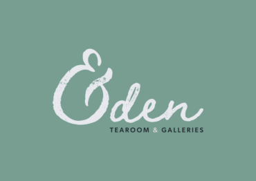 Eden logo in white on a mint green blue background. The logo is a text-only scripted font style with a distressed look. Under the word Eden it reads tearoom & galleries.